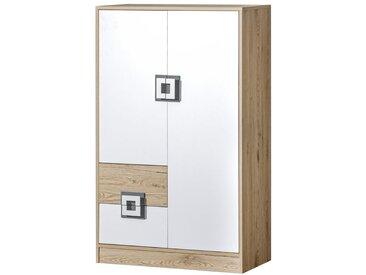 Chambre d´enfant - Commode Fabian 07, couleur: Chêne clair / Blanc / Gris - 130 x 80 x 40 cm (h x l x p)