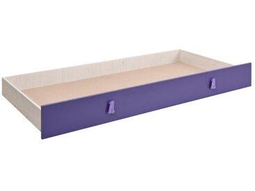Coffre de lit pour lits Luis, Couleur: Chêne Blanc / Violet - 80 x 190 cm (l x L)