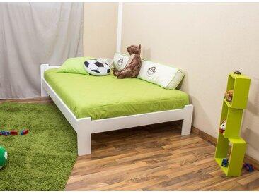 Lit futon bois de pin massif blanc A8, incl. sommier à lattes – Dimensions : 120 x 200 cm