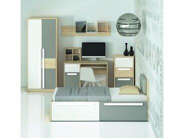 Chambre des jeunes complète - Set A Greeley, 8 pièces, couleur : hêtre / blanc / gris platine