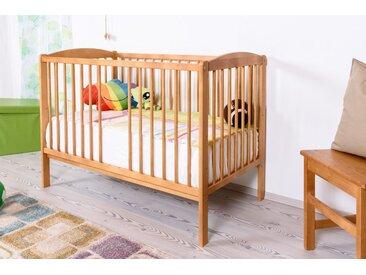 Lit bébé/lit en bois de pin massif couleur aulne 103, y compris sommier à lattes - 60 x 120 cm (l x L)
