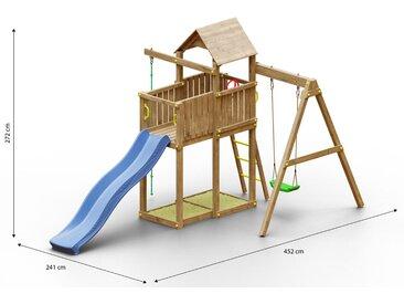 Tour de jeu / aire de jeu pour enfants avec balançoire simple, toboggan à vagues, 2 bacs à sable, balcon, corde à grimper et toit en bois FSC®.