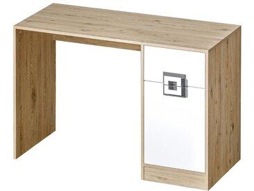Chambre d´enfant - Commode Fabian 10, couleur: Chêne clair / Blanc / Gris - 78 x 120 x 50 cm (h x l x p)