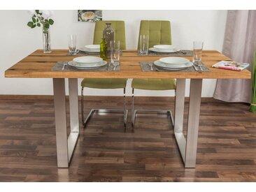 Table à manger Wooden Nature 414 en chêne massif huilée, dessus de table lisse - 160 x 90 cm (L x l)