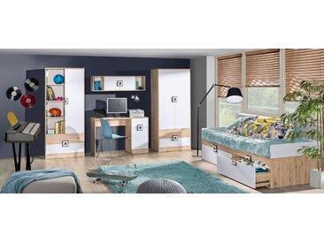 Chambre d'enfant complète - Set B Fabian, 5 pièces, couleur : chêne brun clair / blanc / gris