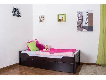 Lit enfant / lit de jeunesse Easy Premium Line K1/1h avec 2 couchettes et 2 panneaux de couverture inclus, 90 x 200 cm en bois de hêtre massif marron chocolat