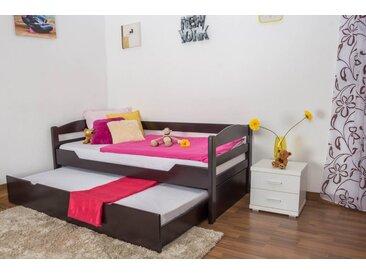 Lit enfant / jeunesse Easy Premium Line ® K1/h/s avec 2 couchettes et 2 panneaux de couverture inclus, 90 x 200 cm en bois de hêtre massif marron chocolat