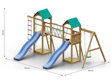 Tour de jeu / aire de jeu pour enfants avec pont de corde, échelle de corde, 2 tours, 2 toboggans à vagues, balançoire simple, 2 bacs à sable et corde à grimper FSC®.