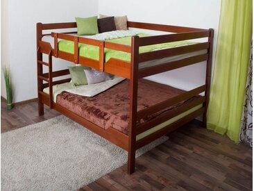 Lits superposés Easy Premium Line ® K16/n, tête et pied de lit droits, hêtre bois massif couleur cerisier - surface de couchage : 160 x 200 cm, divisible