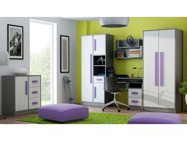 Chambre des jeunes Set A Olaf, 6 pièces, couleur : anthracite / blanc / violet