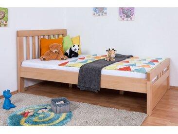 Lit enfant / lit de jeunesse Easy Premium Line ® K8 avec 1 panneau de couverture, 120 x 200 cm en bois de hêtre massif naturel