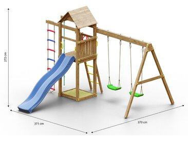 Tour de jeux pour enfants / aire de jeux avec corde à grimper, toboggan à vagues, bac à sable, échelle de corde, double balançoire et toit en bois FSC®.