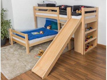 Lit superposé / lit de jeu Phillip hêtre massif naturel avec toboggan et étagère, séparable, sommier déroulable inclus - 90x200 cm