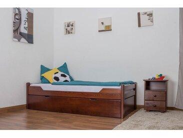 Lit enfant / lit de jeunesse Easy Premium Line K1/1h avec 2 couchettes et 2 panneaux de couverture inclus, 90 x 200 cm en bois de hêtre massif brun foncé