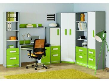 Set de chambre d´enfant L Renton, 7 pièces, couleur : gris platine / blanc / vert