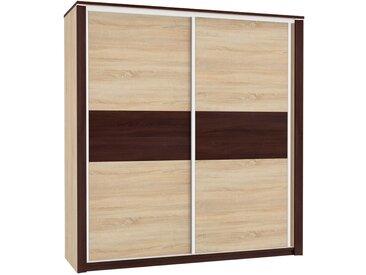 Armoire à portes coulissantes / armoire Nogales 02, couleur : chêne Sonoma clair / foncé - Dimensions : 210 x 197 x 66 cm (H x L x P), avec 2 portes et 7 compartiments
