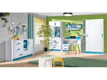 Set de chambre d'enfant C Frank, 6 pièces, couleur : blanc / bleu