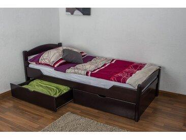 Lit enfant / lit de jeunesse Easy Premium Line K1/2n avec 2 tiroirs et 2 panneaux de couverture inclus, 90 x 200 cm en bois de hêtre massif marron chocolat