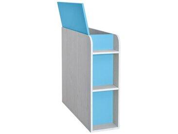 Chambre d´enfants - Coffre Luis 03, Couleur : Chêne Blanc / Bleu - 92 x 30 x 103 cm (H x l x p)