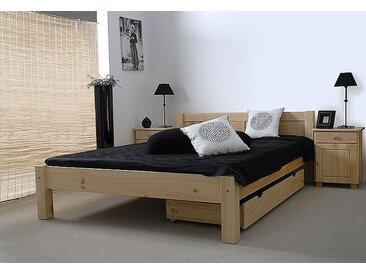 Lit futon en bois de pin massif naturel A1, sommier à lattes incl. - Dimensions : 140 x 200 cm