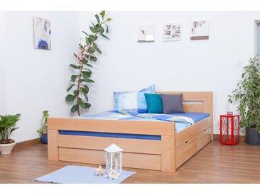 Lit double Easy Premium Line K6 inkl. 2 tiroirs et un panneau de masquage, 160x200 cm bois dhêtre massif naturel
