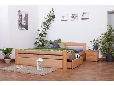 Lit double Easy Premium Line K4 incl. 2 tiroirs et un panneau de masquage, 180x200 cm en hêtre massif naturel