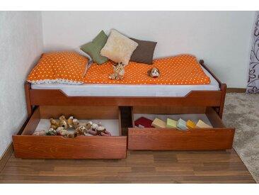 Lit enfant / jeunesse Easy Premium Line K1/1n avec 2 tiroirs et 2 panneaux de couverture inclus, 90 x 200 cm en bois de hêtre massif couleur cerisier