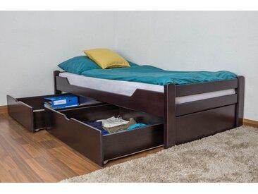 Lit enfant / jeunesse Easy Premium Line K1/1n avec 2 tiroirs et 2 panneaux de couverture inclus, 90 x 200 cm en bois de hêtre massif marron chocolat