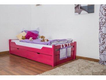 Lit enfant / jeunesse Easy Premium Line K1/1n avec 2 tiroirs et 2 panneaux de couverture inclus, 90 x 200 cm en bois de hêtre massif rose
