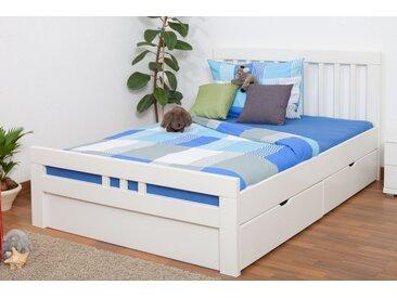 Lit d´adolescents Easy Premium Line K8 incl. 2 tiroirs et un panneau de masquage, 140x200 cm bois de hêtre massif laqué blanc