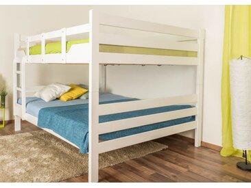 Lits superposés pour adultesEasy Premium Line ® K16/n, tête et pied de lit droits, hêtre bois massif laqué blanc - surface de couchage : 160 x 200 cm, divisible