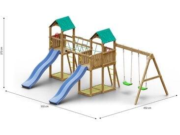 Tour de jeux / aire de jeux pour enfants avec pont de corde, balcon, 2 tours, 3 bacs à sable, 2 toboggans à vagues et double balançoire FSC®.