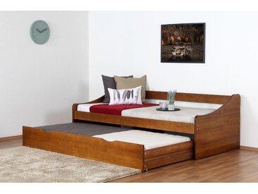 Lit simple/lit d´appoint pin massif couleur chêne rustique 93, incl. sommier à lattes - 90 x 200 cm (l x L)