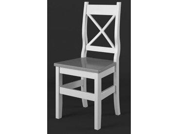 Chaise en bois de pin massif Blanc / Gris Lagopus 11 - Dimensions 97 x 46 x 47 cm (H x L x l)