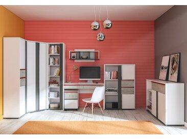 Chambre des jeunes Set E Connell, 8 pièces, couleur : blanc / anthracite / gris clair