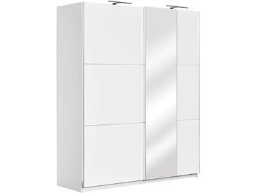 Armoire à portes coulissantes / armoire Sabadell 10, couleur : blanc / blanc brillant - 222 x 179 x 64 cm (H x L x P)