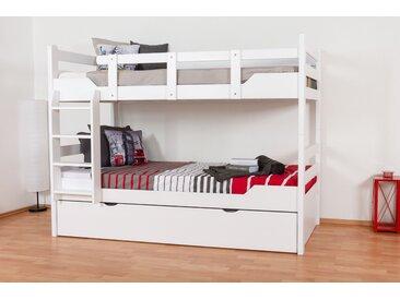 Lit superposé pour adultes Easy Premium Line K12/h avec couchette et 2 panneaux de recouvrement, tête et pied de lit droits, hêtre massif blanc - 90 x 200 cm (L x l), divisible