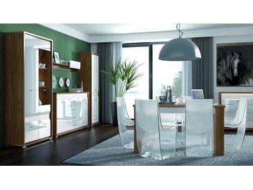 Salle à manger complète - Set C Tempe, 6 pièces, couleur : couleurs de noix / blanc brillant, insert frontal : blanc