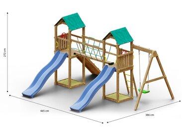 Tour de jeux pour enfants / aire de jeux avec rampe avec corde à grimper, balançoire simple, 2 tours, 2 toboggans à vagues, pont de corde et 2 bacs à sable FSC®.
