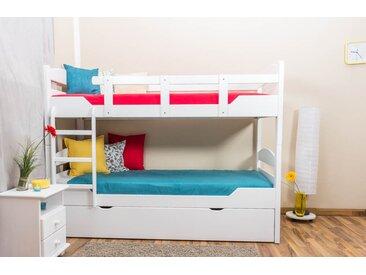 Lits superposés / lits superposés Easy Premium Line K13/h avec canapé et 2 panneaux de recouvrement, tête et pied de lit arrondis, hêtre massif blanc - Dimensions : 90 x 200 cm, divisible
