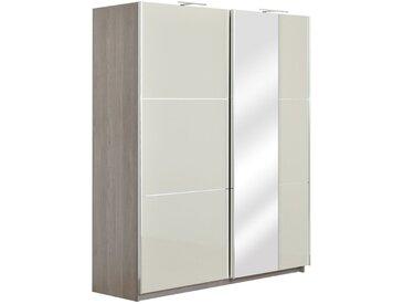 Armoire à portes coulissantes / armoire Sabadell 10, couleur : chêne / beige brillant - 222 x 179 x 64 cm (h x l x p)