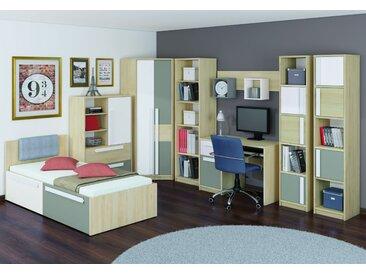 Chambre des jeunes complète - Set C Greeley, 16 pièces, couleur : hêtre / blanc / gris platine