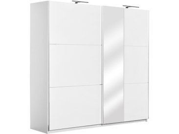 Armoire à portes coulissantes / armoire Sabadell 12, couleur : blanc / blanc brillant - 222 x 229 x 64 cm (H x L x P)