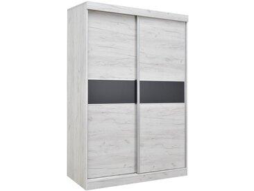 Armoire à portes coulissantes / armoire Bermeo 04, couleur : blanc chêne / anthracite - 220 x 150 x 65 cm (H x L x P)
