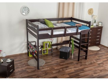 Lit mezzanine pour adultes Easy Premium Line ® K15/n, bois de hêtre massif marron chocolat, convertible - Surface de couchage : 120 x 200 cm