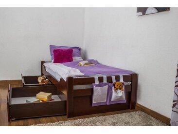 Lit enfant / jeunesse Easy Premium Line K1/1n avec 2 tiroirs et 2 panneaux de couverture inclus, 90 x 200 cm en bois de hêtre massif brun foncé