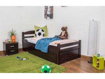 Lit enfant / jeunesse Easy Premium Line ® K1/2h avec 2 couchettes et 2 panneaux de couverture inclus, 90 x 200 cm en bois de hêtre massif laqué marron chocolat