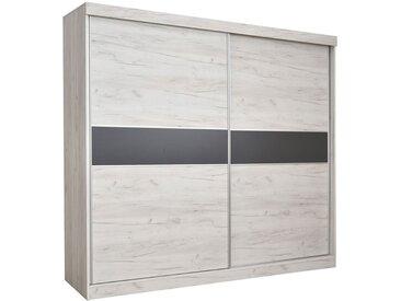 Armoire à portes coulissantes / armoire Bermeo 02, couleur : blanc chêne / anthracite - 220 x 240 x 65 cm (H x L x P)