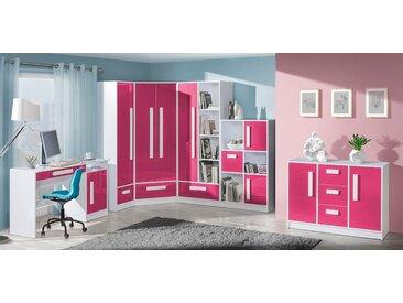 Set de chambre d'enfant C Walter, 6 pièces, couleur : rose brillant / blanc