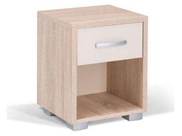 Chambre enfants - Table de nuit Gabriel 02, Couleur : Chêne Brun / Crème - 52 x 42 x 38 cm (H x l x p)